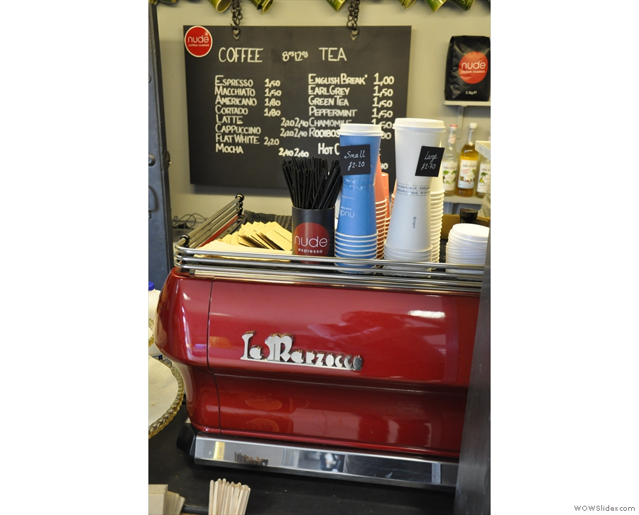 At the heart of the operaton is the bright-red La Marzocco.