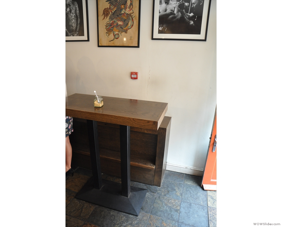 ... while to your right is this, one of two high-tables opposite the counter.