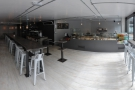 Stepping inside: a panoramic view of the interior from just inside the door...
