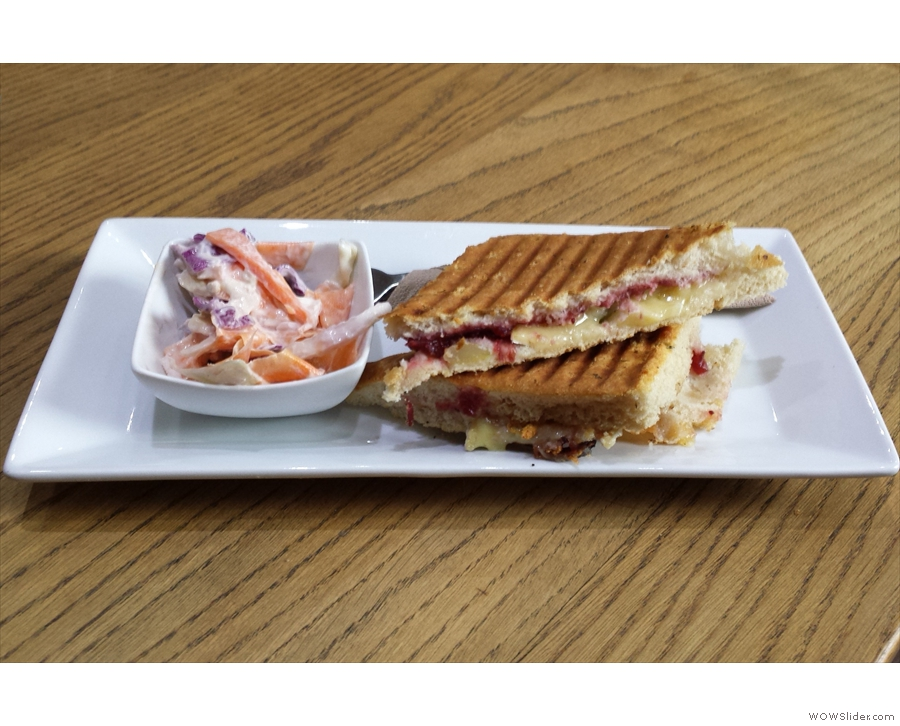My brie, grape and cranberry sandwich, on focaccia, toasted, of course.
