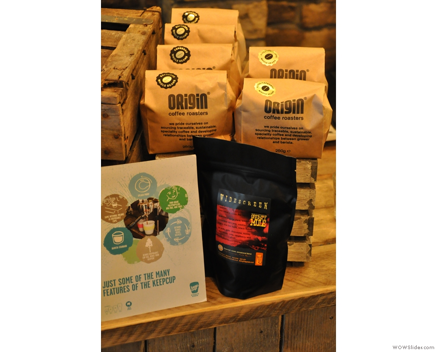 You can buy the houseblend beans (from Grumpy Miule) or beans from the guest roaster.