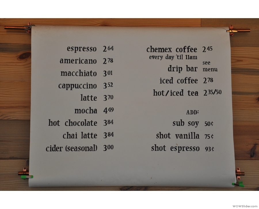 So, what's actually on offer? Let's consult the coffee menu...
