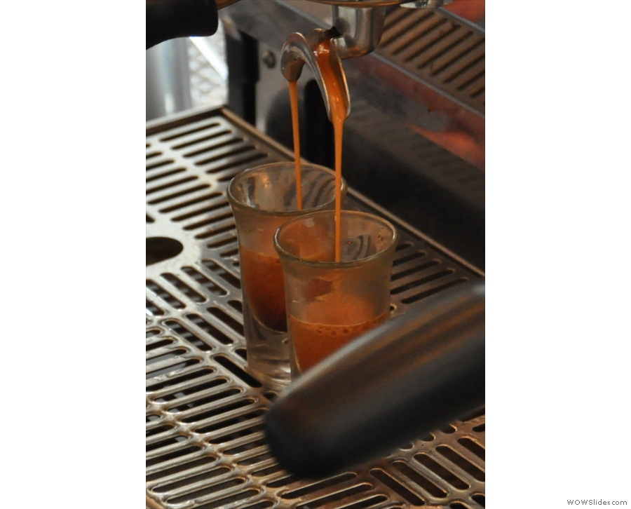 I love watching espresso pouring out of the spouts...