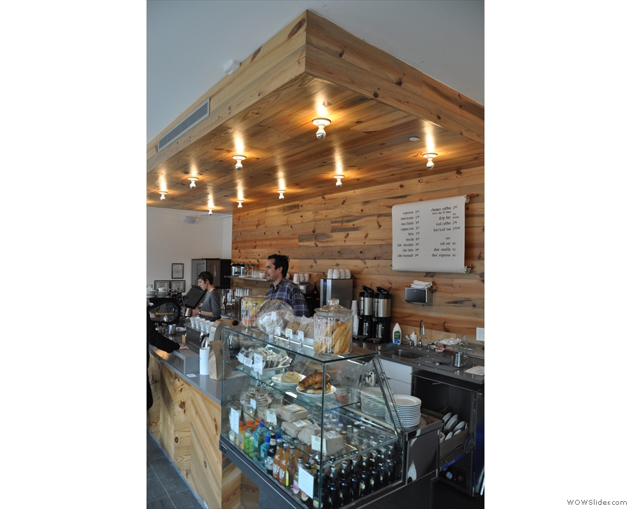The counter, by the way, is a thing of beauty, all wood and lights.
