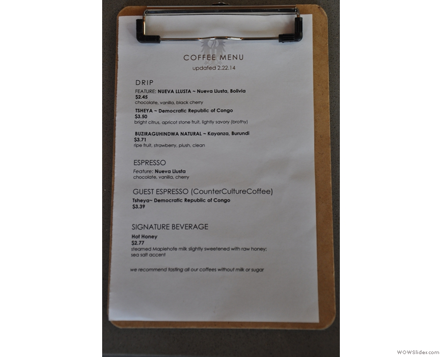 Ultimo regularly rotates its beans. There's a handy menu to tell you what's on at the moment.