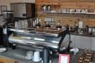 The (very) shiny La Marzocco Strada espresso machine.