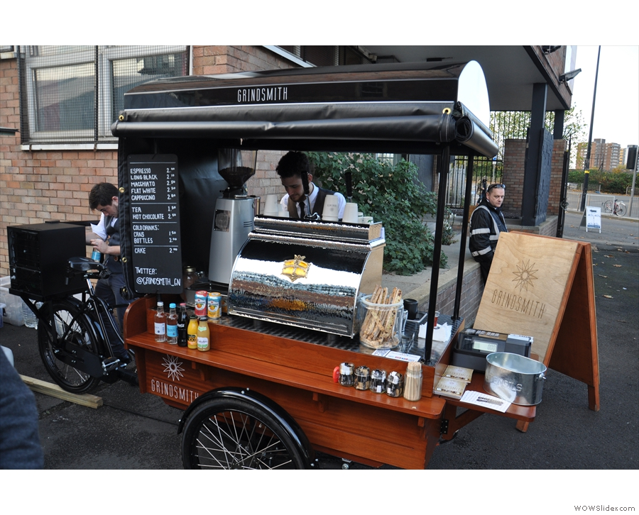 First up, however, is coffee, with the Grindsmith's trike!