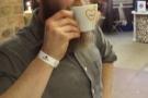 The winner, Sam Binstead, of Sheffield's Upshot Espresso, drinks the evidence!