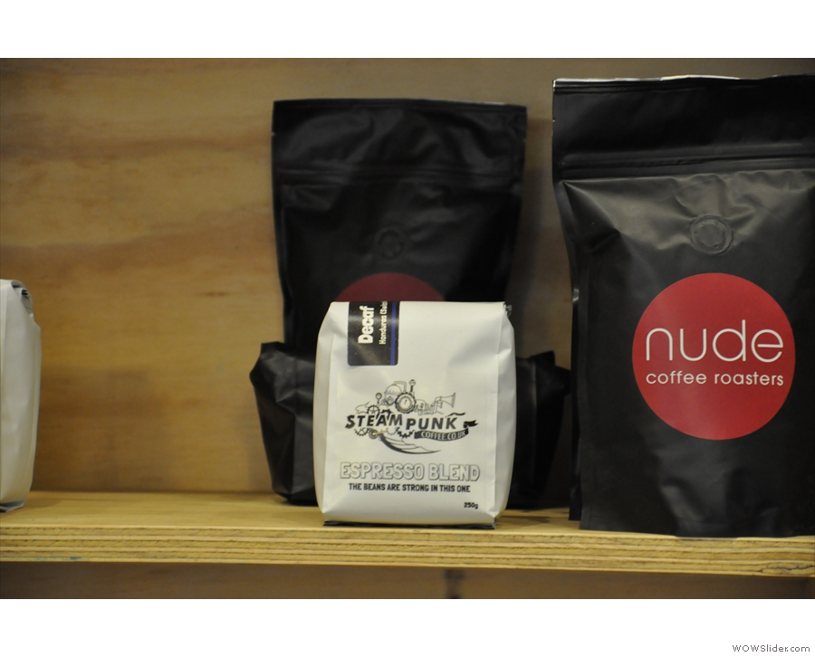 The espresso options from Nude and Steampunk, including a decaf option.