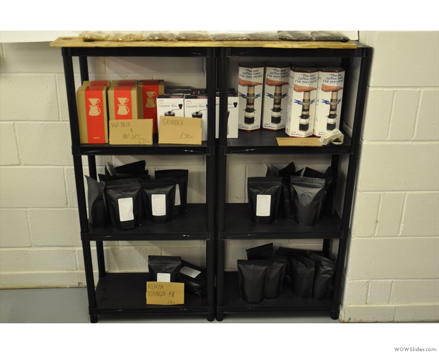 There are also shelves full of coffee and coffee-making kit...