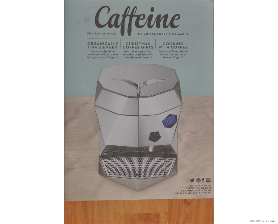 More kit: Issue 12 has the angular Victoria Arduino Theresia espresso machine on the cover.