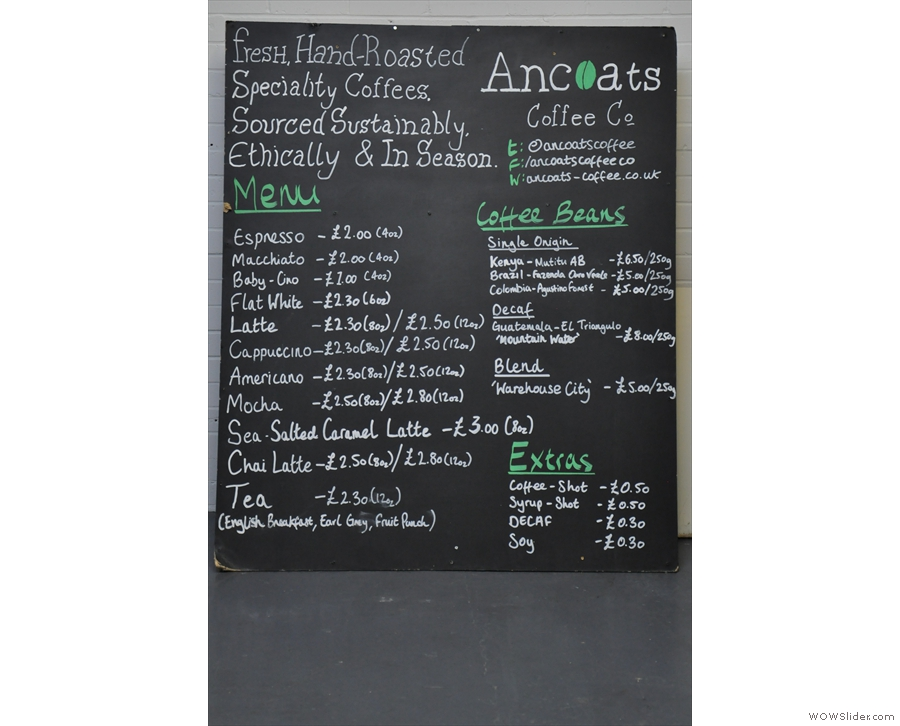 As I've said before, there are only so many pictures of green beans & roasters that one can take & I've reached my limit! Fortunately, here's Ancoats' menu for farmers markets & the like.
