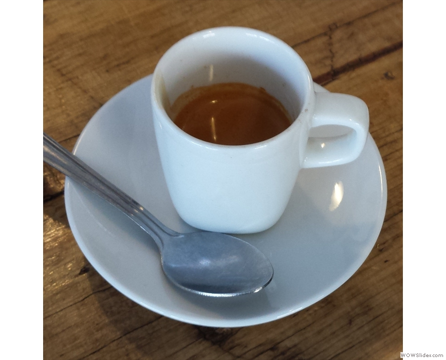 A beautiful espresso from Glasgow's Veldt Deli, using its own bespoke African blend.