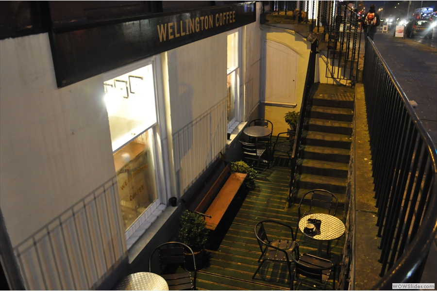 Down the side of George Street is the basement terrace for those who want to sit outside