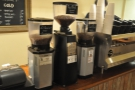 Back to the coffee making; here are the three grinders, each with its own label...