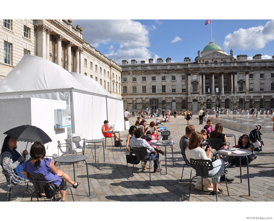 The courtyard seating in Somerset House, home of Fernandez and Wells.