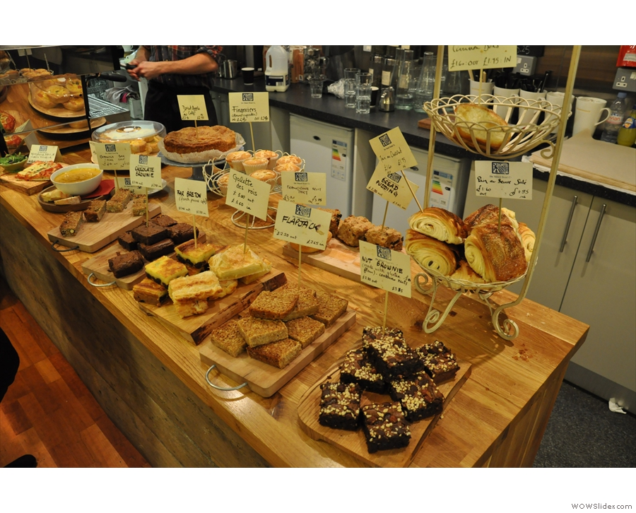 The spread of cakes on offer at the Natural Bread Company, Oxford