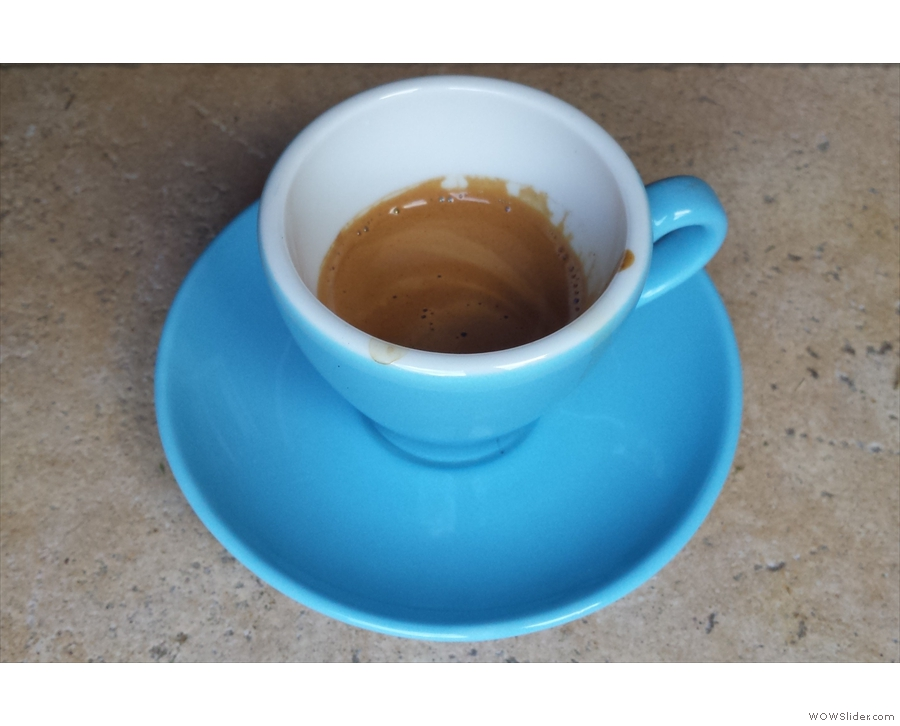My own attempts at pulling shots with the Tiger Stripes blend (in a Machina Espresso cup).