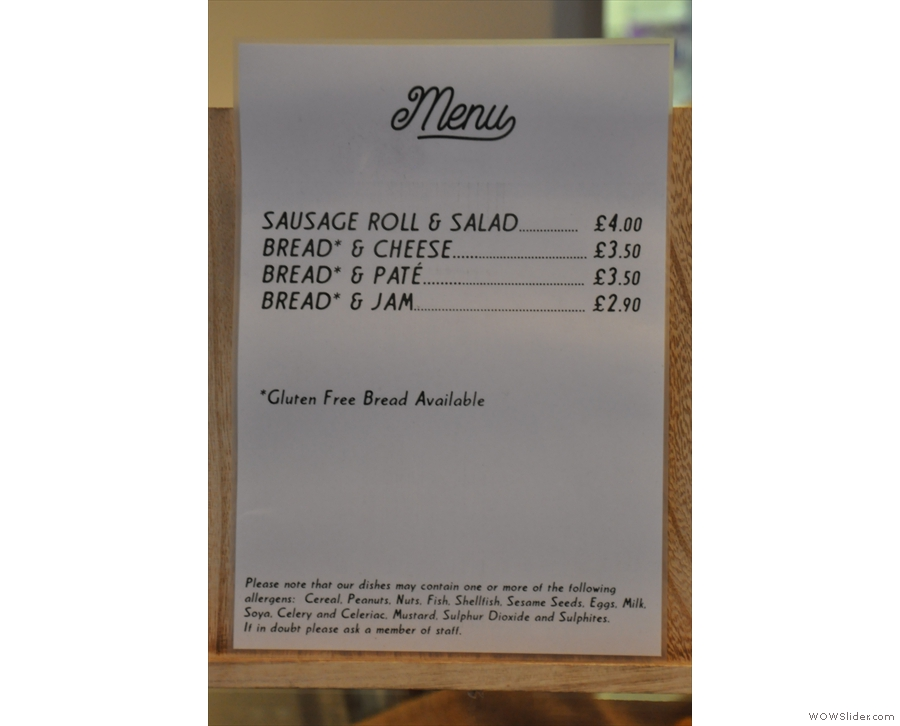There's also a very limited food menu: bread with things :-)