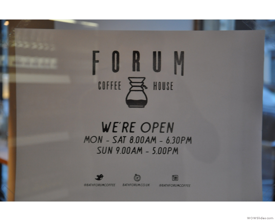 Meanwhile, the sign on the door, with the Chemex as part of the logo, promises much!