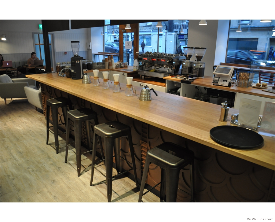 Another view of the counter, with its neat row of Chemexes (if that's the plural of Chemex).