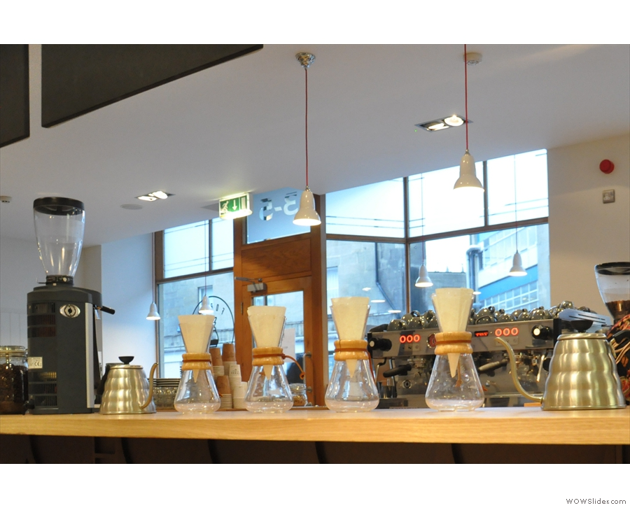 Another view of the Chemex, with dedicated grinder (I've decided Chemex is its own plural).