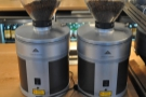The two grinders: espresso blend and decaf.