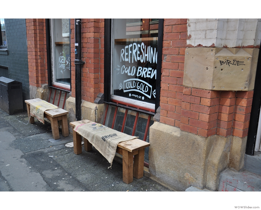 ... although the coffee sacks on the benches outside are the first clue.