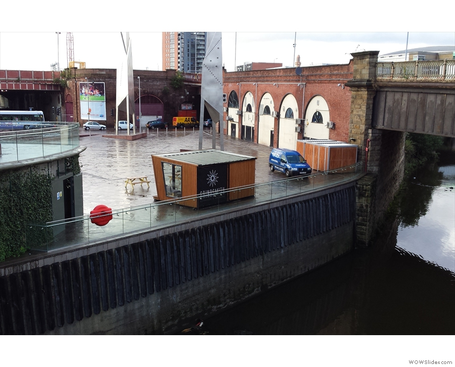 A view of Grindsmith from the Manchester side of the river during a brief lull in the rain.