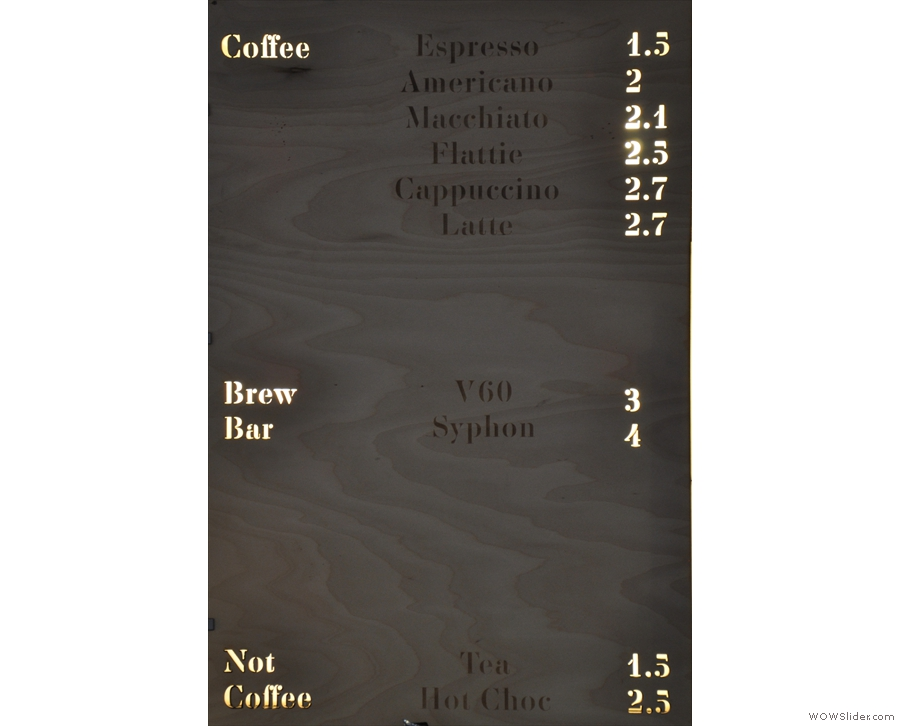 The coffee menu...