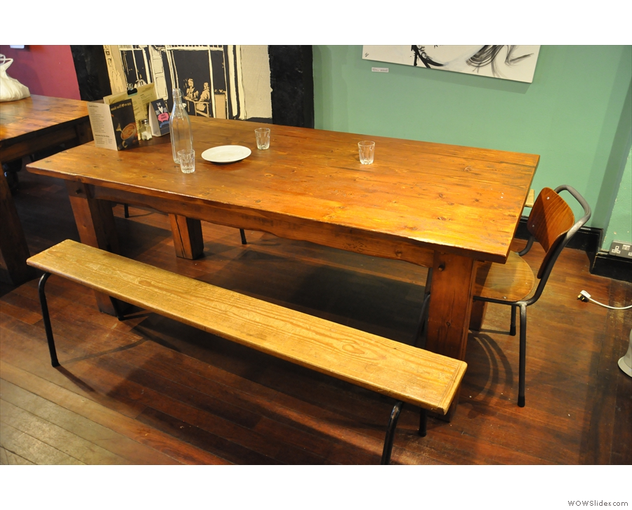 ... or large, communal tables with benches.