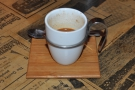 ... and my espresso came in an awesome cup on a cute saucer-come-tray.