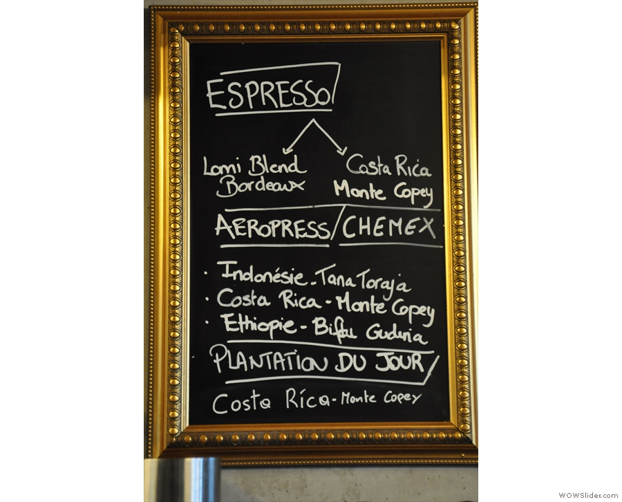 The succinct coffee menu...