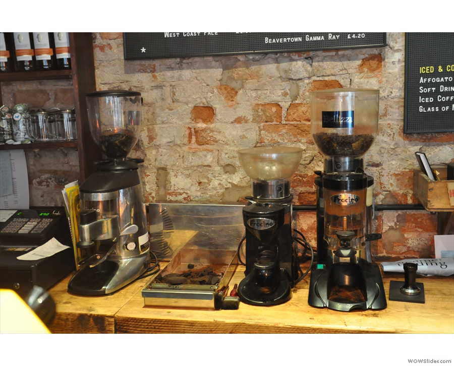 The counter is quite small, so the grinders, all three of them, are at the back.