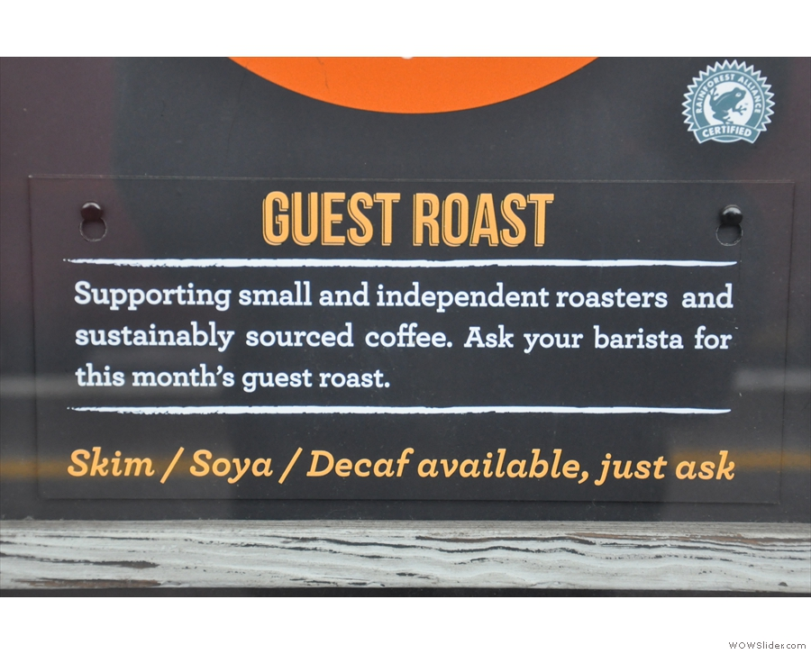 ... while FCB shows its commitment to local sourcing by using regular guest roasters.