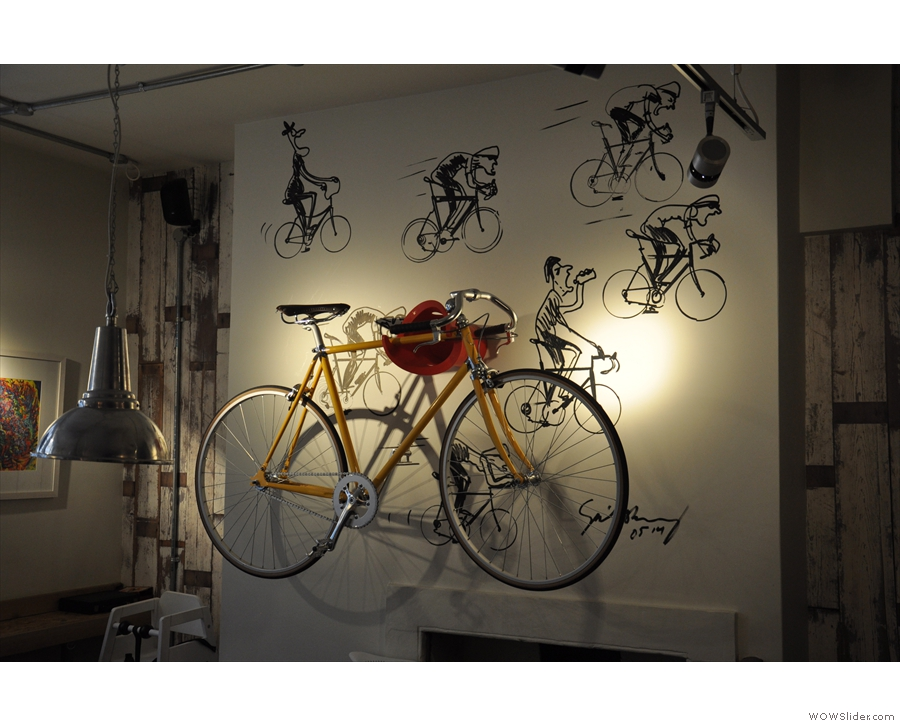 It's not just art. There are also bikes, part of Society Cafe's links with the cycling community.