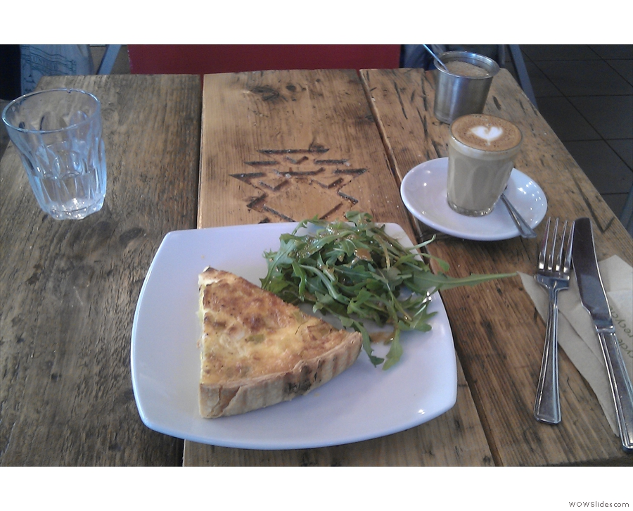 I accompanied the piccolo with an equally lovely leek and cheddar tart, served hot with salad.
