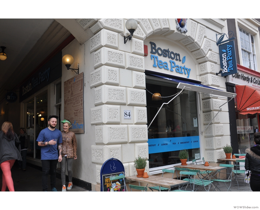The Boston Tea Party on Exeter's Queen Street looks a bit small, despite the lovely exterior.