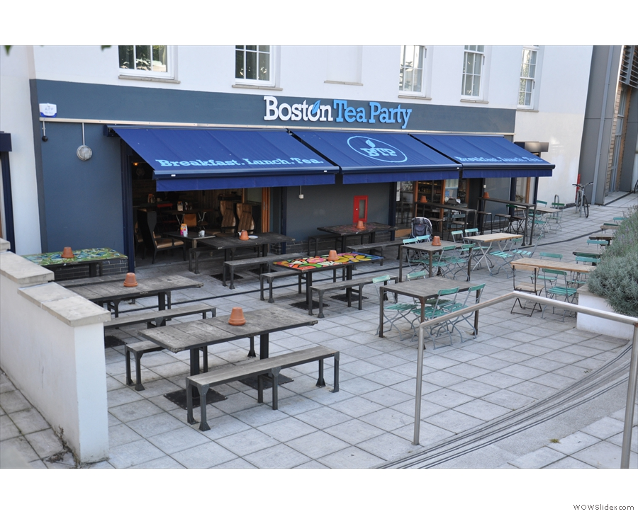 The Boston Tea Party at the top of Cheltenham Road, complete with outside terrace