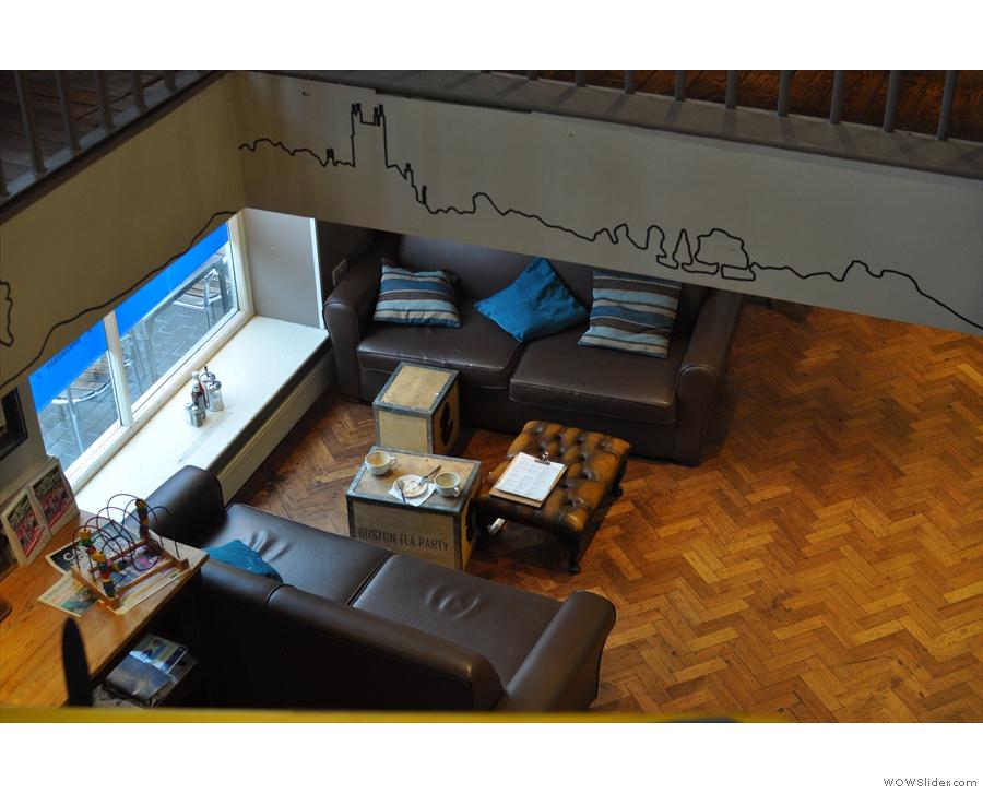 The sofa downstairs, sans plane.