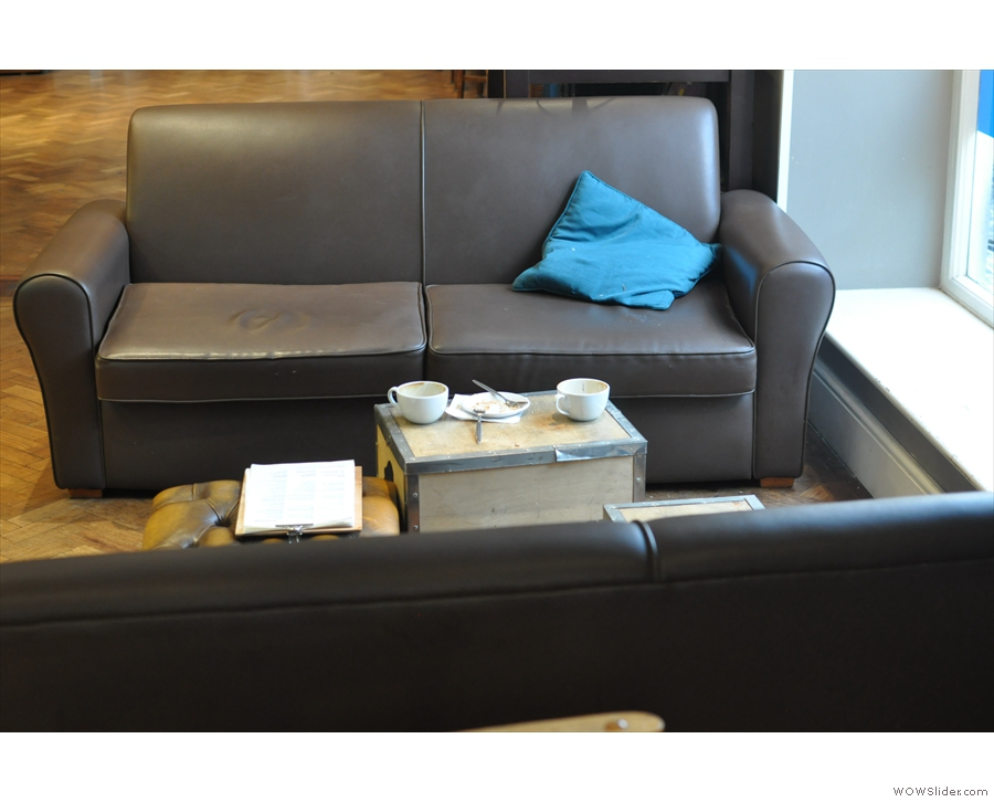 Another view of the downstairs sofas.