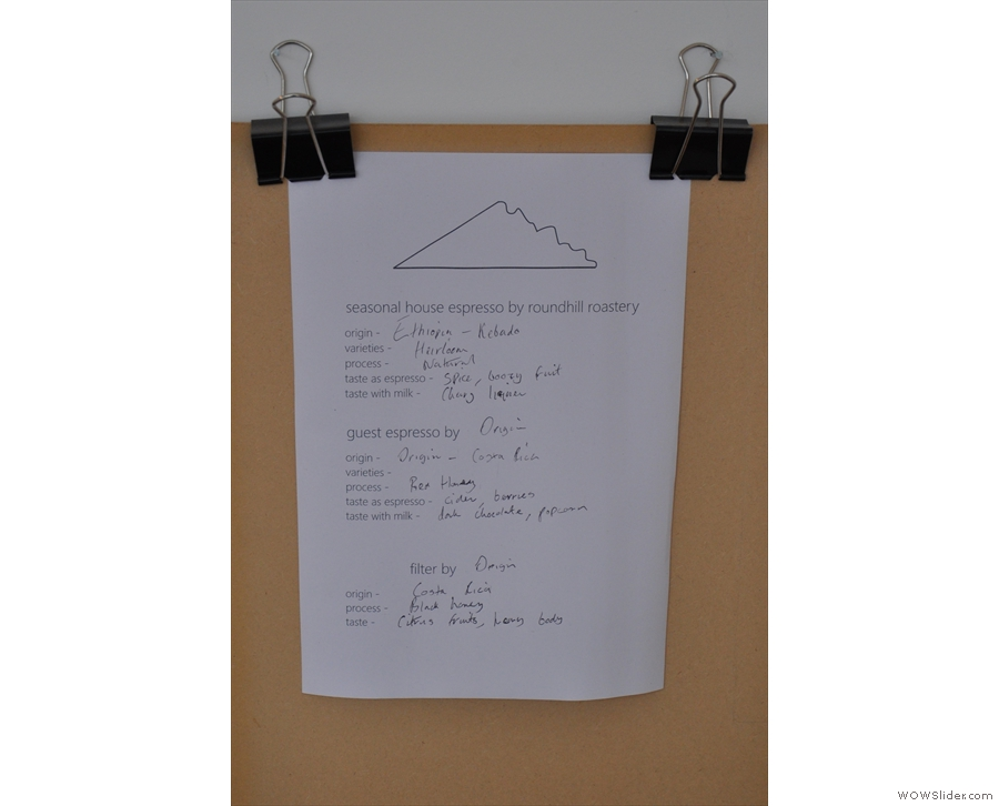 The tasting notes for the various beans on offer are helpfully hand-written on clipboards!