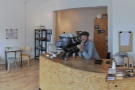 A panorama taken from just inside and to the right of the door, with friendly host Jonathon.