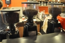 ... and its three grinders, house, guest (usually single-origin) and decaf.