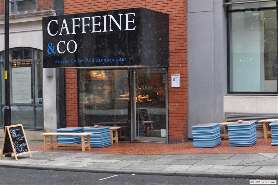 And here it is, the wonderful Caffeine & Co. Small shop, large logo...