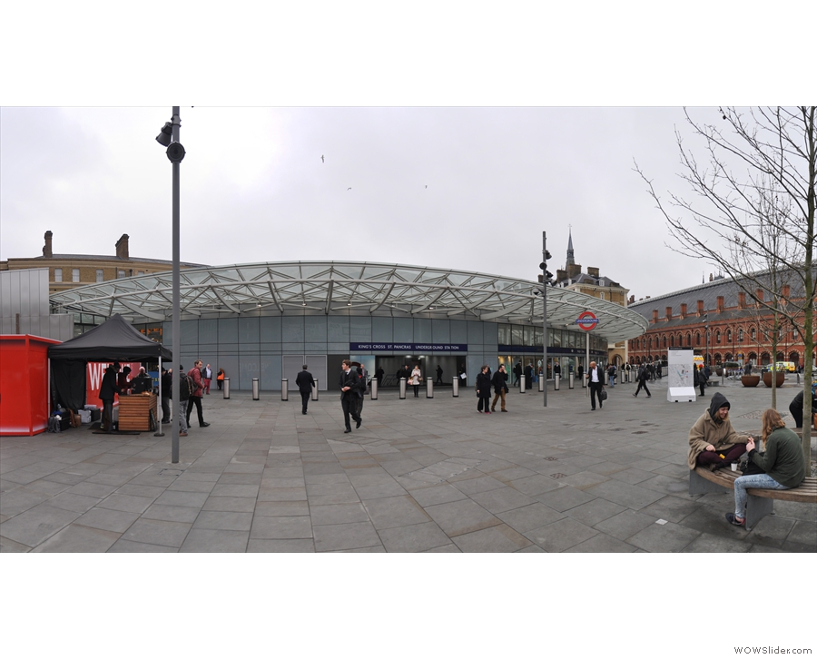 Noble Espresso (on the left) at the back of King's Cross Station, St Pancras to the right.