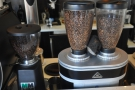 But what? Decaf (on the left), Whistle & Cuss or single-origin Yirgacheffe (twin hoppers)?