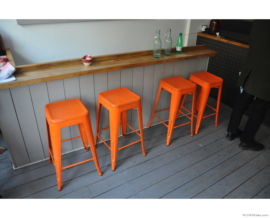 An even rarer thing: all four stools along the bar by the stairs are momentarily vacated.