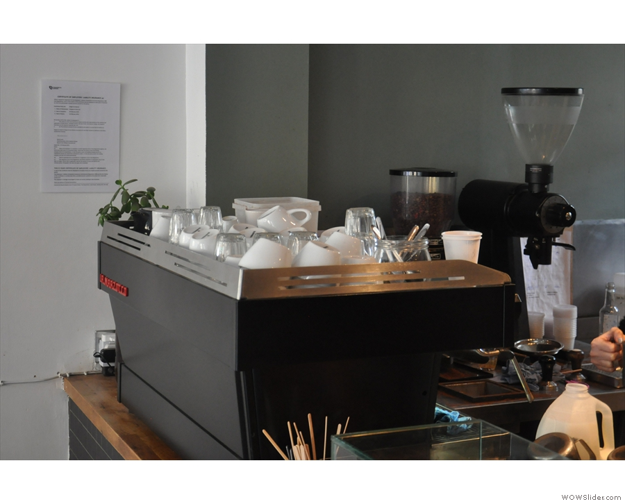 A better view of the grinders; one for the house espresso, the EK-43 for everything else.