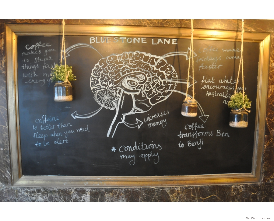 This lovely diagram is on the chalkboard outside, opposite the outdoor seating.